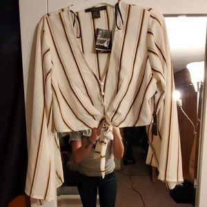 Ivory/Striped Cropped Long Sleeved Shirt